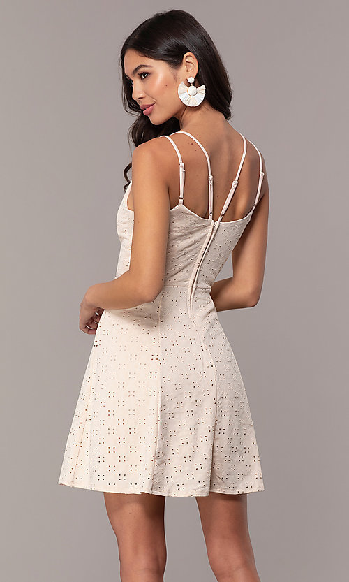 Image of short eyelet v-neck graduation dress in blush pink. Style: EM-FLU-3760-690 Back Image