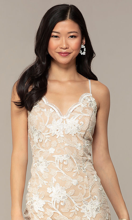Image of embroidered v-neck ivory nude lace party dress. Style: EM-FWR-3814-083 Detail Image 1