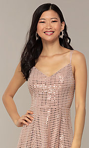 Image of short sequin homecoming party dress in peach. Style: EM-FLU-4114-850 Detail Image 1
