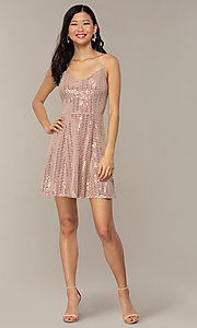 Image of short sequin homecoming party dress in peach. Style: EM-FLU-4114-850 Detail Image 3