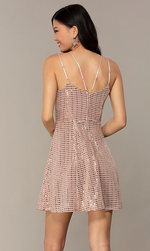 Image of short sequin homecoming party dress in peach. Style: EM-FLU-4114-850 Back Image