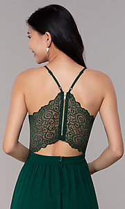 Image of high-low hunter green wedding-guest party dress. Style: EM-FWT-1027-304 Detail Image 2