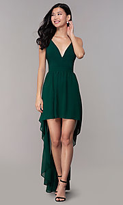 Image of high-low hunter green wedding-guest party dress. Style: EM-FWT-1027-304 Detail Image 3