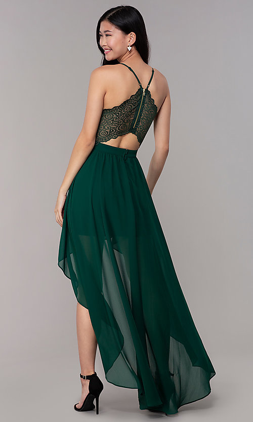 Image of high-low hunter green wedding-guest party dress. Style: EM-FWT-1027-304 Back Image