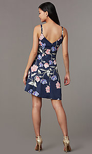 Image of faux-wrap high-low floral-print party dress. Style: EM-HAA-4081-434 Back Image