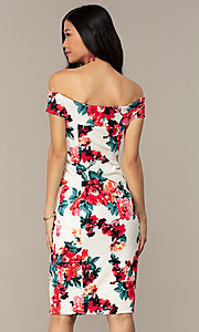 Image of off-shoulder short wedding-guest dress with print. Style: EM-HEY-4036-142 Back Image