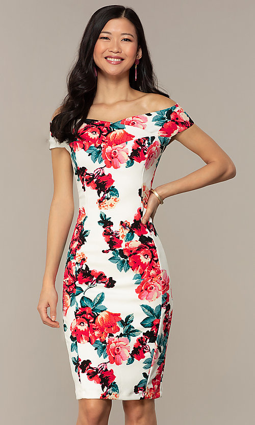 Image of off-shoulder short wedding-guest dress with print. Style: EM-HEY-4036-142 Front Image