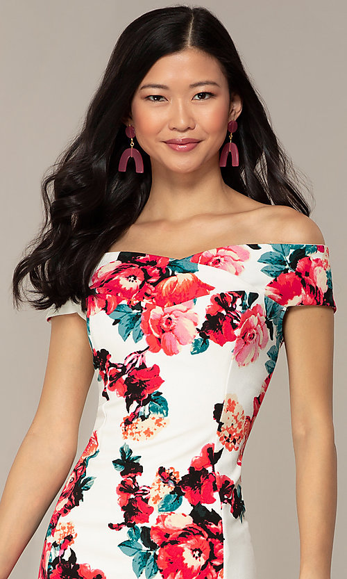 Image of off-shoulder short wedding-guest dress with print. Style: EM-HEY-4036-142 Detail Image 1