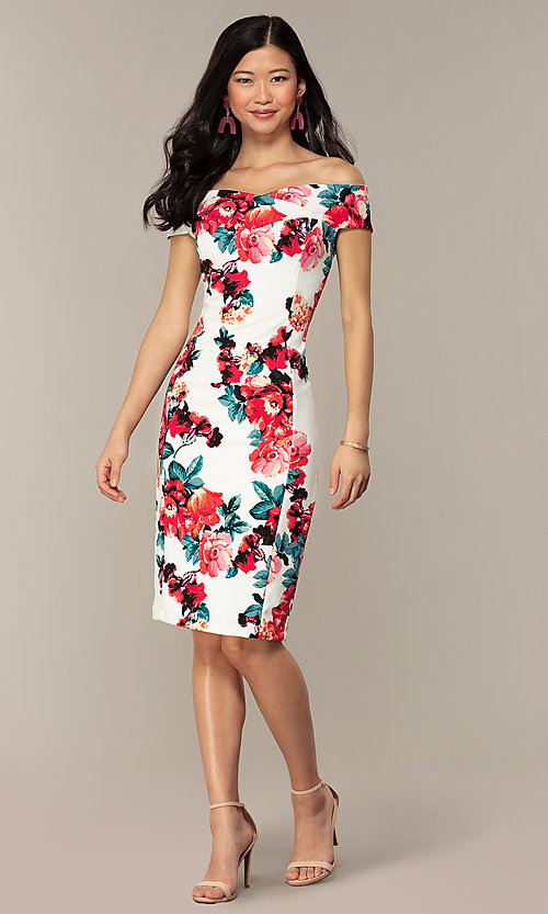 Image of off-shoulder short wedding-guest dress with print. Style: EM-HEY-4036-142 Detail Image 3