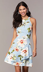 Image of floral-print short wedding-guest dress. Style: SS-JA32683DFZ Front Image