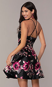 Image of short a-line floral-print party dress. Style: SS-D66954QY7 Back Image