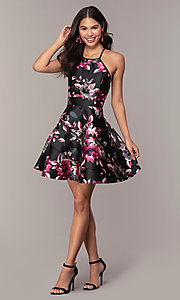 Image of short a-line floral-print party dress. Style: SS-D66954QY7 Detail Image 3