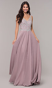 Image of long mocha v-neck prom dress by PromGirl. Style: DQ-PL-2809 Front Image