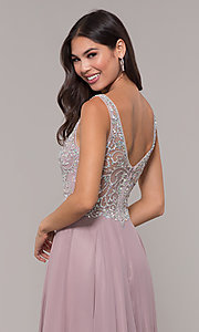 Image of long mocha v-neck prom dress by PromGirl. Style: DQ-PL-2809 Detail Image 2