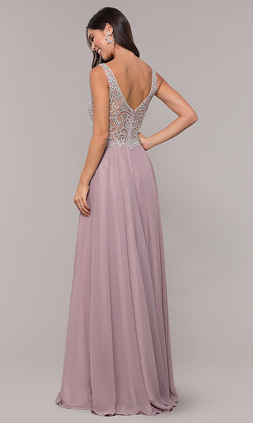 Image of long mocha v-neck prom dress by PromGirl. Style: DQ-PL-2809 Back Image