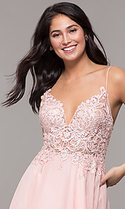 Image of short ribbon-embroidered-bodice party dress. Style: DJ-A8003 Detail Image 1