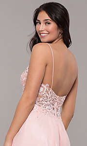 Image of short ribbon-embroidered-bodice party dress. Style: DJ-A8003 Detail Image 2