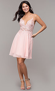 Image of short ribbon-embroidered-bodice party dress. Style: DJ-A8003 Detail Image 3