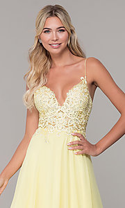 Image of short ribbon-embroidered-bodice party dress. Style: DJ-A8003 Detail Image 6