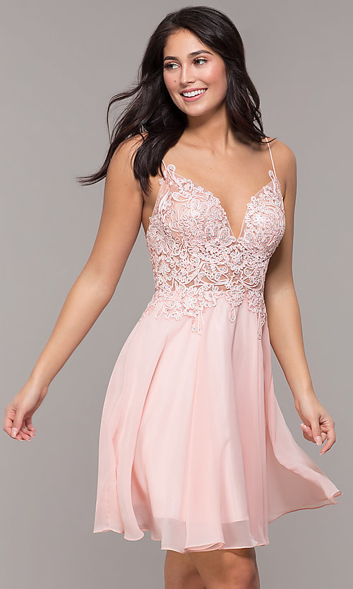 Image of short ribbon-embroidered-bodice party dress. Style: DJ-A8003 Front Image