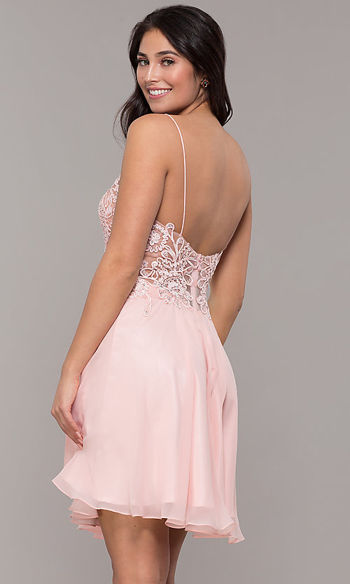 Image of short ribbon-embroidered-bodice party dress. Style: DJ-A8003 Back Image