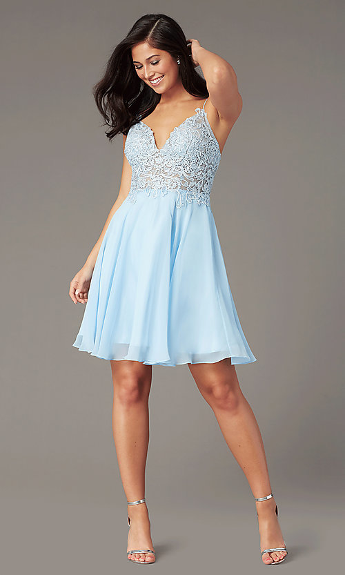Image of short ribbon-embroidered-bodice party dress. Style: DJ-A8003 Detail Image 4