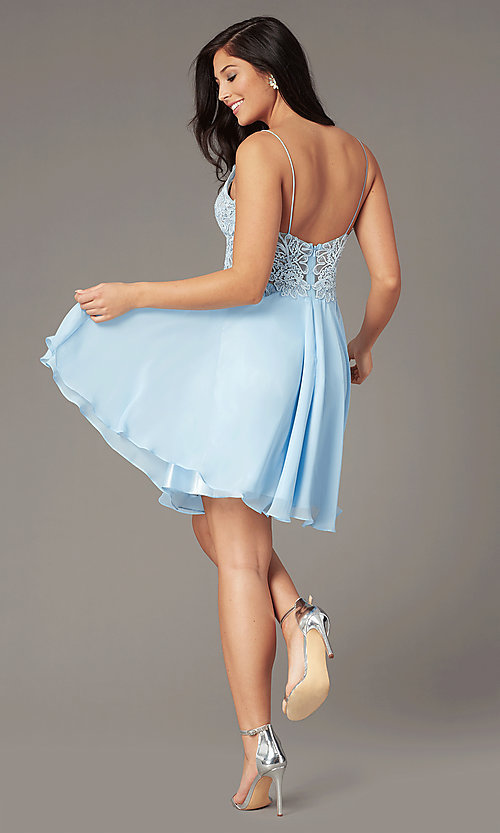 Image of short ribbon-embroidered-bodice party dress. Style: DJ-A8003 Detail Image 5