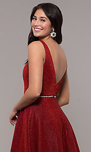 Image of long v-neck metallic-jersey formal prom dress. Style: DQ-2706 Detail Image 2