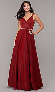 Image of long v-neck metallic-jersey formal prom dress. Style: DQ-2706 Front Image