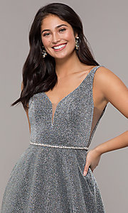 Image of long v-neck metallic-jersey formal prom dress. Style: DQ-2706 Detail Image 5