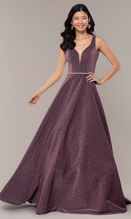 Image of long v-neck metallic-jersey formal prom dress. Style: DQ-2706 Detail Image 3