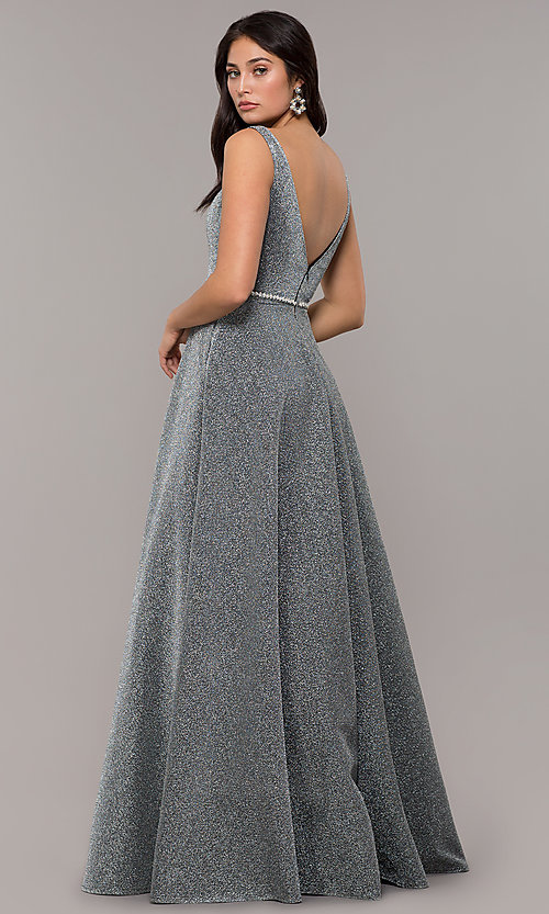 Image of long v-neck metallic-jersey formal prom dress. Style: DQ-2706 Detail Image 4