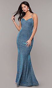 Image of metallic jersey lace-up-back mermaid prom dress. Style: DQ-2698 Back Image