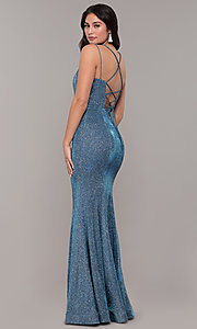Image of metallic jersey lace-up-back mermaid prom dress. Style: DQ-2698 Front Image