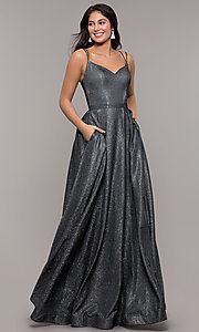 Image of metallic long sweetheart formal sparkly prom dress. Style: DQ-2720 Detail Image 6