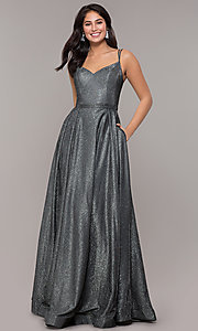 Image of metallic long sweetheart formal sparkly prom dress. Style: DQ-2720 Detail Image 8