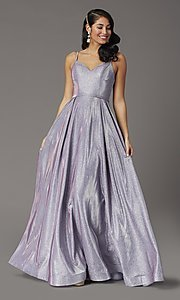 Image of metallic long sweetheart formal sparkly prom dress. Style: DQ-2720 Front Image
