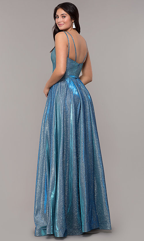 Image of metallic long sweetheart formal sparkly prom dress. Style: DQ-2720 Detail Image 3