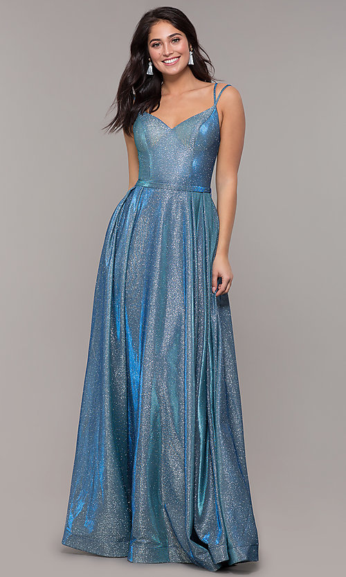 Image of metallic long sweetheart formal sparkly prom dress. Style: DQ-2720 Detail Image 2