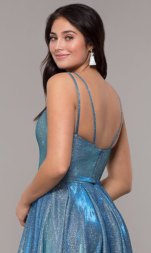 Image of metallic long sweetheart formal sparkly prom dress. Style: DQ-2720 Detail Image 5