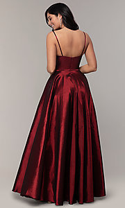 Image of long a-line v-neck prom dress. Style: DQ-2825 Detail Image 5