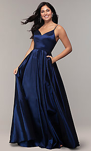 Image of long a-line v-neck prom dress. Style: DQ-2825 Front Image