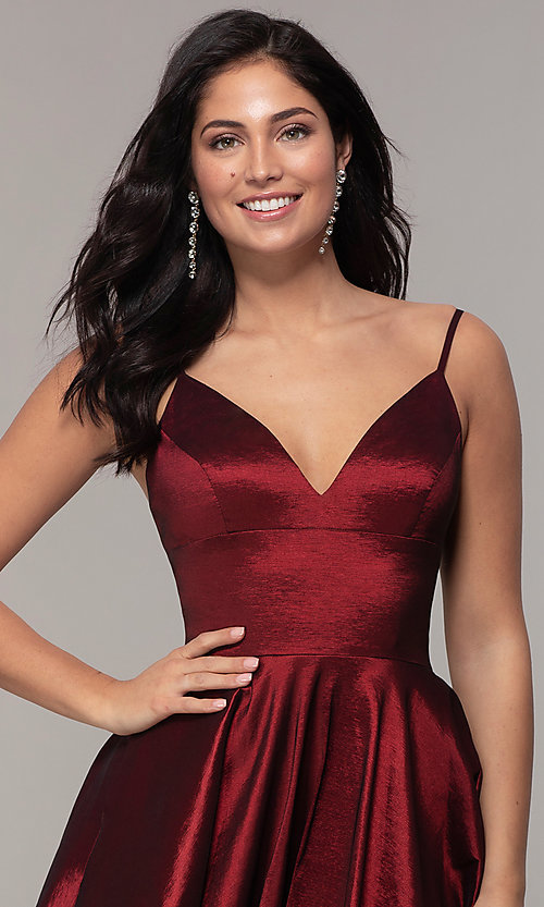 Image of long a-line v-neck prom dress. Style: DQ-2825 Detail Image 6