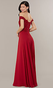 Image of long lace-bodice off-shoulder sweetheart prom dress. Style: DQ-2492 Detail Image 4