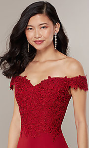 Image of long lace-bodice off-shoulder sweetheart prom dress. Style: DQ-2492 Detail Image 5
