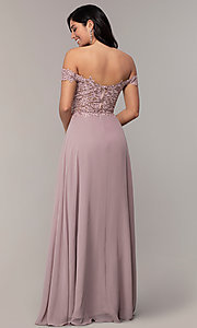 Image of long lace-bodice off-shoulder sweetheart prom dress. Style: DQ-2492 Detail Image 7