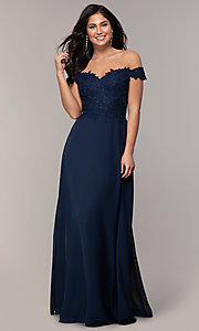 Image of long lace-bodice off-shoulder sweetheart prom dress. Style: DQ-2492 Front Image