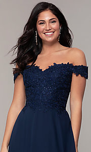 Image of long lace-bodice off-shoulder sweetheart prom dress. Style: DQ-2492 Detail Image 1