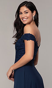 Image of long lace-bodice off-shoulder sweetheart prom dress. Style: DQ-2492 Detail Image 2