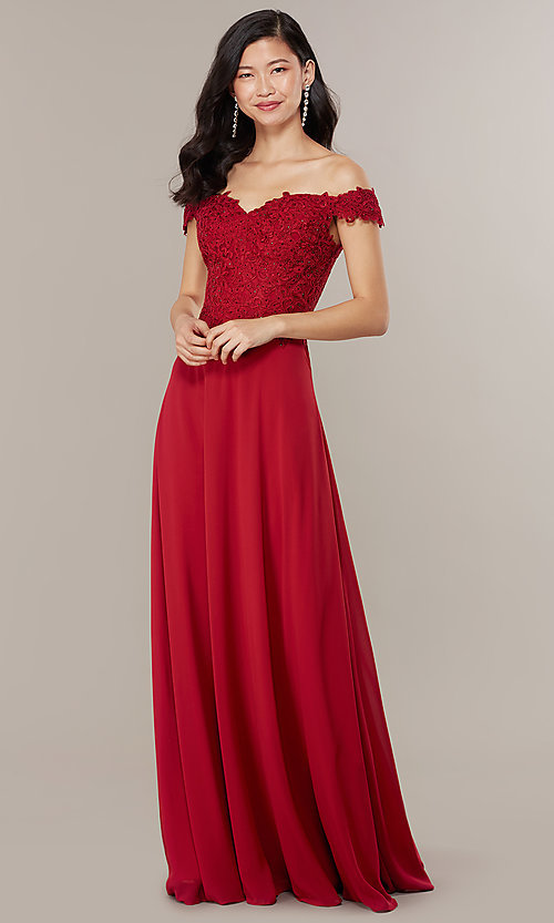 Image of long lace-bodice off-shoulder sweetheart prom dress. Style: DQ-2492 Detail Image 3